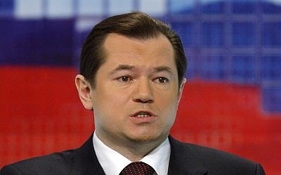 In this file photo, Feb. 18, 2004, presidential candidate Sergey Glazyev speaks at a Russian TV channel 1 studio in Moscow. (AP Photo/Sergey Ponomarev, File)