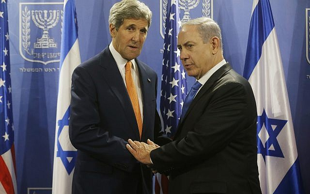 US Secretary of State John Kerry (L) meets with Prime Minister Benjamin Netanyahu in Tel Aviv, Israel, Wednesday, July 23, 2014. Kerry is meeting with United Nations Secretary-General Ban Ki-moon, Netanyahu, and Palestinian Authority President Mahmoud Abbas as efforts for a cease-fire between Hamas and Israel continues. (AP Photo/Pool)