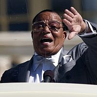 Nation of Islam leader Louis Farrakhan speaks during a rally to mark the 20th anniversary of the Million Man March, on Capitol Hill, on Saturday, Oct. 10, 2015, in Washington. (AP/Evan Vucci)
