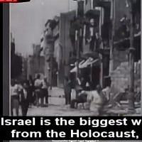 Screen capture from a video broadcast by the Al Jazeera network which questions the established Holocaust narrative. (Twitter)