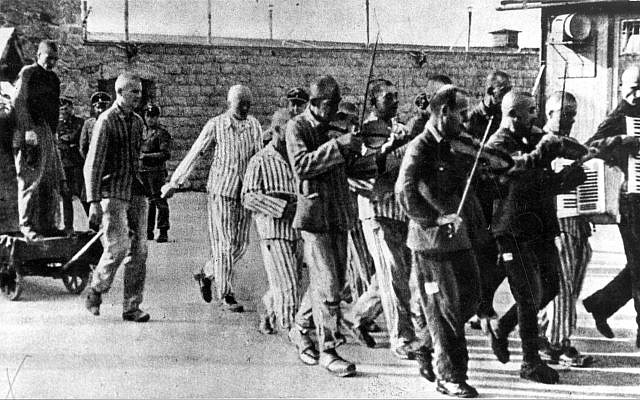 The Mauthausen prisoner band playing as inmates are taken to their death, 1942. (Courtesy Claims Conference)