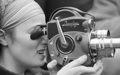 Barbara Rubin with video camera, photo taken by John 'Hoppy' Hopkins. (Estate of JVL Hopkins)