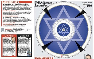 The May 27, 2019 front page of German daily Bild, featuring a cut-out kippah and urging readers to wear the Jewish skullcap in protest of anti-Semitic attacks. (Twitter)
