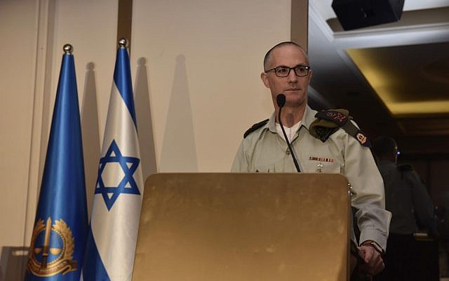 MIlitary Advocate General Maj. Gen. Sharon Afek speaks at an international law conference in Herzliya on May 28, 2019. (Israel Defense Forces)