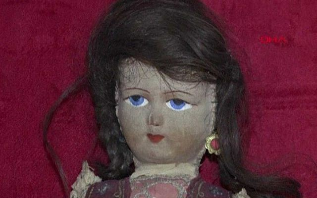 Doll believed to be made with the hair from a Jewish girl killed in the Holocaust. (Courtesy of Anatolian Toy Museum)
