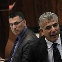 Yair Lapid, right, and Gideon Saar in the Knesset on July 23, 2013. Miriam Alster/FLASH90)