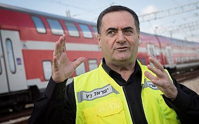 Transportation Minister Israel Katz during a test run of the Jerusalem-Tel Aviv express train in central Israel on January 16, 2018. (Hadas Parush/Flash90)