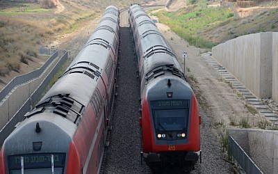 Trains are seen near the city of Sderot on July 15, 2018 (Gili Yaari/Flash90)