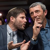 Union of Right-Wing Parties chairman Rafi Peretz (R) and National Union faction chair Bezalel Smotrich at the party's 2019 election campaign launch, March 11, 2019. (Yonatan Sindel/Flash90)