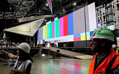 Workers prepare the stage ahead of the opening of the Eurovision Song Contest in Tel Aviv, on April 15, 2019. (Flash90)