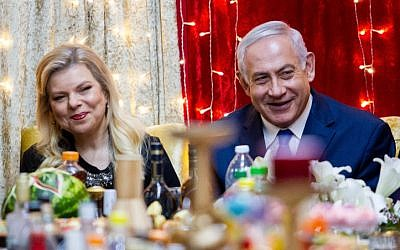 Prime Minister Benjamin Netanyau and his wife Sara attend the Jewish Moroccan celebration of Mimouna, in Or Akiva on April 27, 2019. (Flash90)