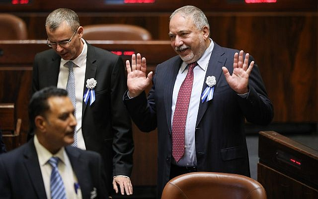 Yisrael Beytenu party leader Avigdor Liberman is seen during the ceremony for the swearing-in of the 21st Knesset, on April 30, 2019. (Noam Revkin Fenton/Flash90)