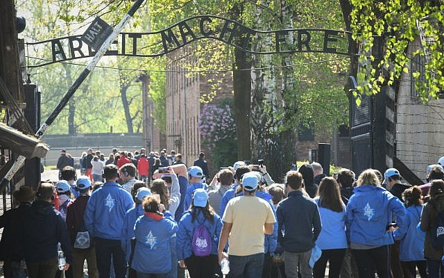 Jewish youth from all over the world visit the Auschwitz concentration camp in Poland a day before the March of the Living on May 1, 2019 (Yossi Zeliger/Flash90)