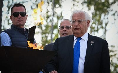 United States Ambassador to Israel David Friedman participates in the March of the Living ceremony at the Auschwitz-Birkenau camp site in Poland, as Israel marks annual Holocaust Memorial Day, on May 2, 2019 (Yossi Zeliger/Flash90)