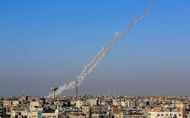 Smoke trails seen as rockets are launched from Rafah in the southern Gaza Strip toward Israel on May 4, 2019. (Abed Rahim Khatib/Flash90)