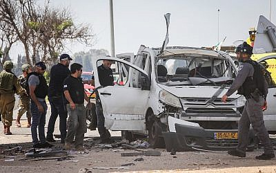 The car that was hit by a missile fired from the Gaza Strip near the Israeli-Gaza border on May 5, 2019. (Noam Rivkin Fenton/Flash90)