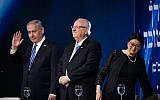 Prime Minister Benjamin Netanyahu, President Reuven Rivlin and Supreme Court president Esther Hayut attend the Israel Prize ceremony in Jerusalem, on Israel's 71st Independence Day, on May 9, 2019. (Yonatan Sindel/Flash90)