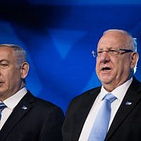 Prime Minister Benjamin Netanyahu, left, and President Reuven Rivlin attend the Israel Prize ceremony in Jerusalem, on Israel's 71st Independence Day, May 9, 2019. (Yonatan Sindel/Flash90)