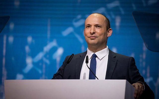 Education Minister Naftali Bennett speaks at the Israel Prize ceremony in Jerusalem, on Israel's 71st Independence Day, on May 9, 2019. (Yonatan Sindel/Flash90)