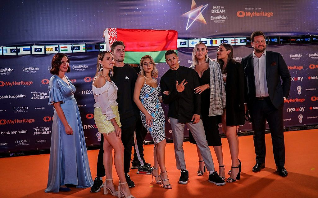 ZENA of Belarus walk on the Orange Carpet, during the opening event of the 2019 Eurovision Song Contest, at Habima Square in Tel Aviv on May 12, 2019. (Hadas Parush/Flash90)