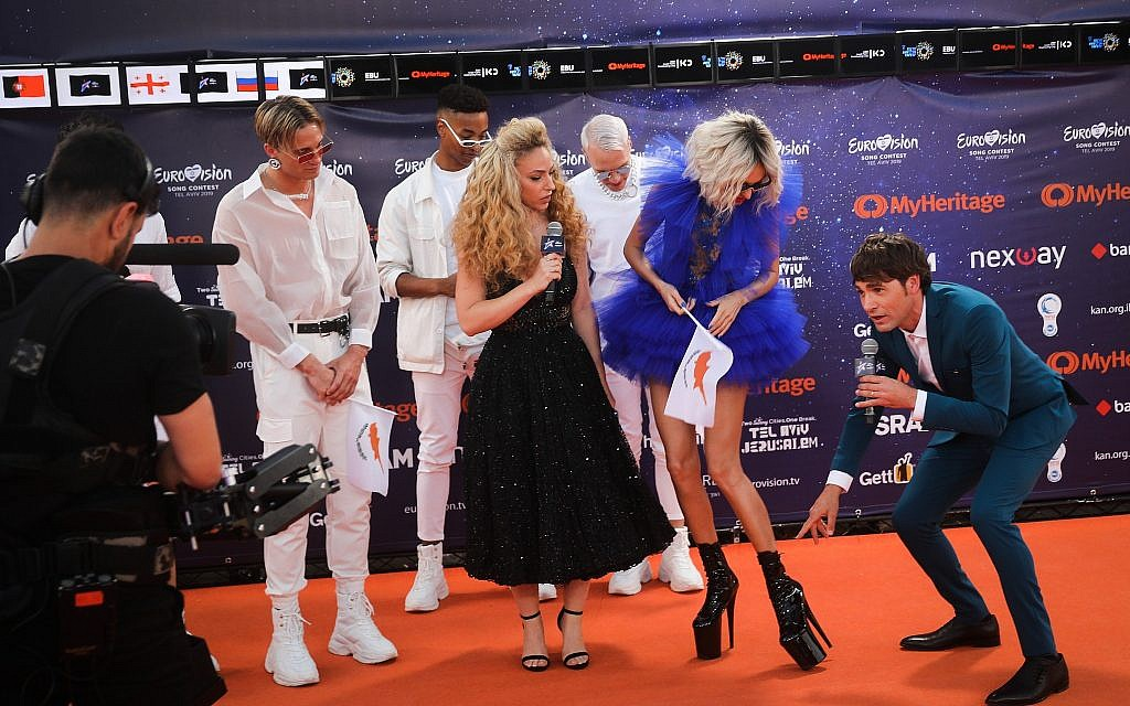 Contestants walk on the Orange Carpet, during the opening event of the 2019 Eurovision Song Contest, at Habima Square in Tel Aviv on May 12, 2019. (Hadas Parush/Flash90)