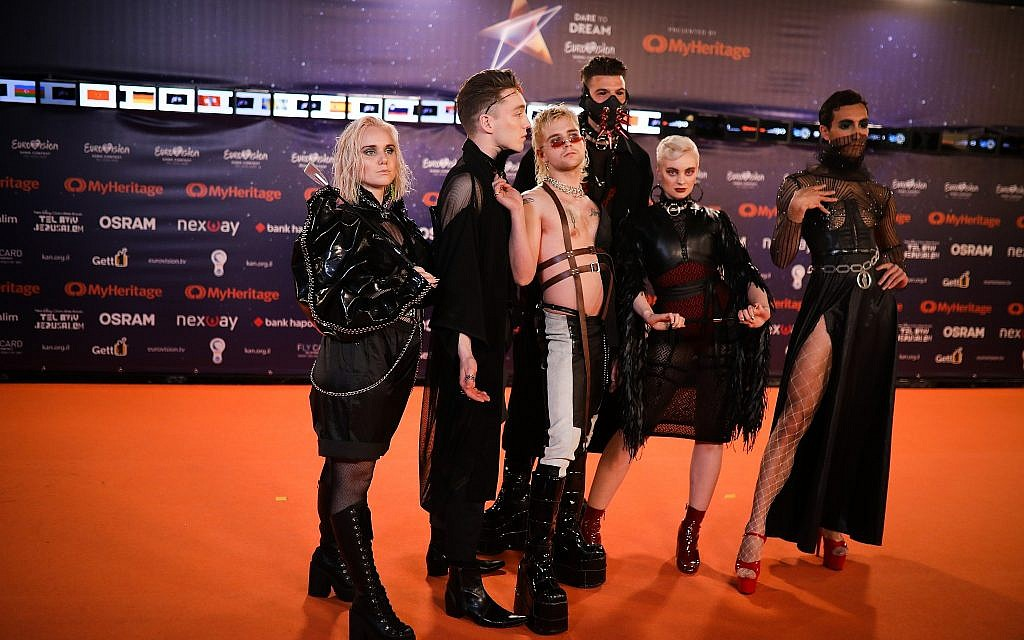 Hatari of Iceland walk on the Orange Carpet, during the opening event of the 2019 Eurovision Song Contest, at Habima Square in Tel Aviv on May 12, 2019. (Hadas Parush/Flash90)