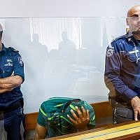 Ghassan Manduri, 36, from the Bedouin village of Tuba-Zangariyye in the Galilee, in court on suspicion of poisoning eight rare griffon vultures, May 13, 2019. (Basel Awidat/Flash90)