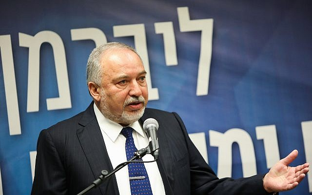 Yisrael Beytenu party chairman Avigdor Liberman leads a faction meeting at the Knesset in Jerusalem on May 13, 2019. (Noam Revkin Fenton/Flash90)