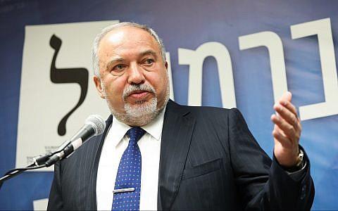 Yisrael Beytenu party leader Avigdor Liberman leads a faction meeting at the Knesset in Jerusalem on May 13, 2019. (Noam Revkin Fenton/Flash90)