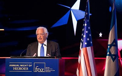 US Ambassador to Israel David Friedman speaks at an event marking one year since the transfer of the US Embassy from Tel Aviv to Jerusalem, May 14, 2019. (Yonatan Sindel/Flash90)
