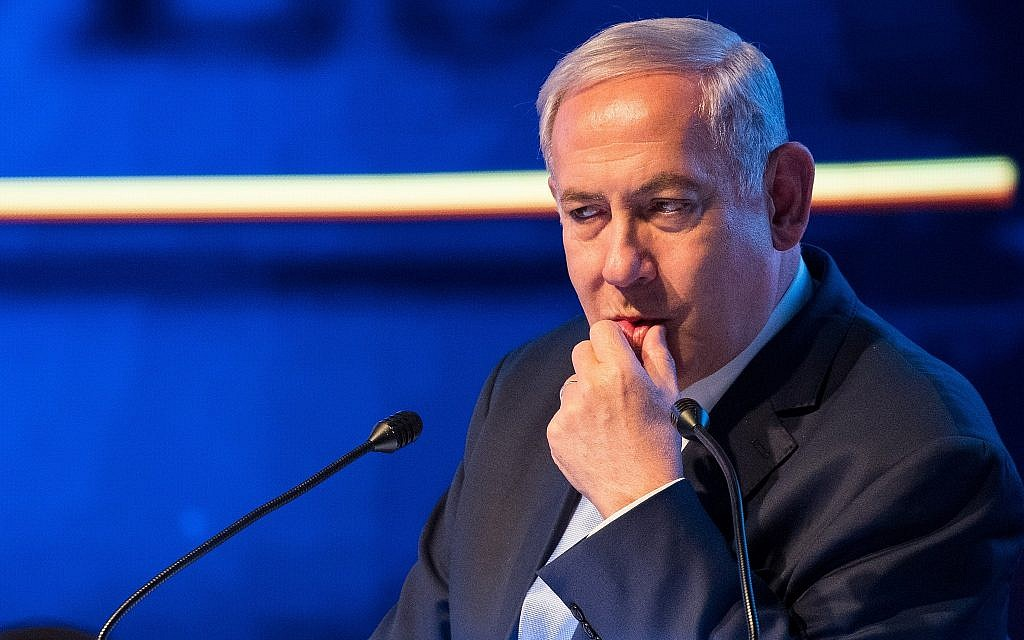 Prime Minister Benjamin Netanyahu speaks at an event marking one year since the transfer of the US Embassy from Tel Aviv to Jerusalem, on May 14, 2019. (Yonatan Sindel/Flash90)