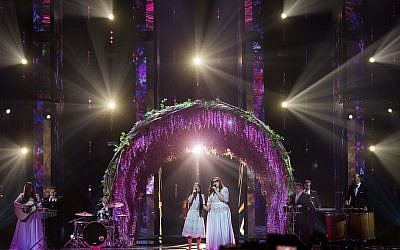 The Shalva Band performs during a rehearsal for their guest appearance at the second semifinal of the 2019 Eurovision Song Contest in Tel Aviv, May 15, 2019 (Hadas Parush/Flash90)