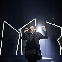 Kobi Marimi from Israel performs during a rehearsal ahead of the finale for the 2019 Eurovision Song Contest in Tel Aviv on May 17, 2019. (Hadas Parush/Flash90)