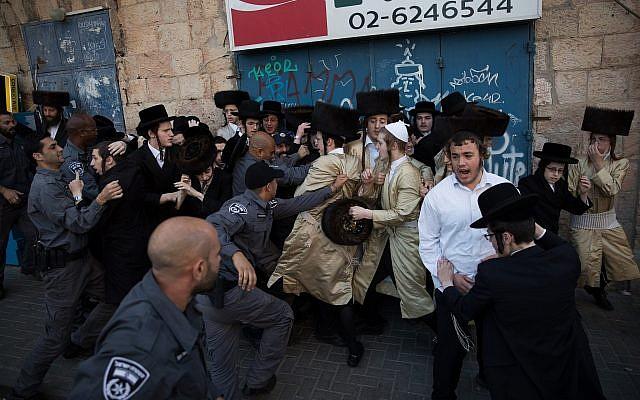 Orothodox Jewish men protesting EuroVision