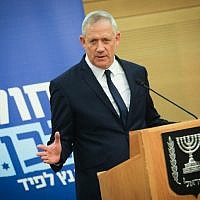 Blue and White chairman Benny Gantz speaks during a party faction meeting at the Knesset, on May 20, 2019. (Hadas Parush/Flash90)