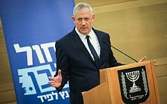 Blue and White chairman Benny Gantz speaks during a party faction meeting at the Knesset, the Israeli parliament on May 20, 2019. (Hadas Parush/Flash90)