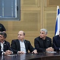 Blue and White party leaders (R-L) Benny Gantz, Yair Lapid, Moshe Yaalon, and Gabi Ashkenazi, during a faction meeting at the Knesset on May 20, 2019. (Hadas Parush /Flash90)