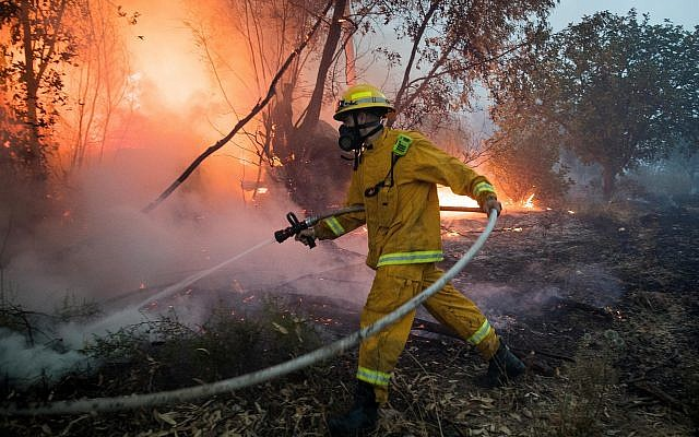 Illustrative. Firefighters try to extinguish a forest fire near Kibbutz Harel, on May 23, 2019. (Yonatan Sindel/Flash90)