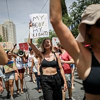 Israeli protesters chant slogans as they march in the SlutWalk in central Jerusalem, on May 24, 2019. (Yonatan Sindel/Flash90)