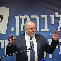 Yisrael Beytenu party leader Avigdor Liberman speaks at a faction meeting regarding the coalition negotiations at the Knesset, on May 27, 2019. (Yonatan Sindel/Flash90)