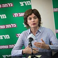 Meretz party leader MK Tamar Zandberg at a faction meeting at the Knesset, on May 27, 2019. (Yonatan Sindel/Flash90)