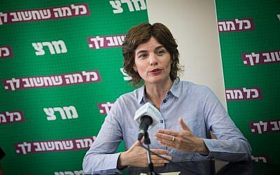 Meretz party leader MK Tamar Zandberg at a faction meeting at the Knesset, on May 27, 2019. (Yonatan Sindel/Flash90)