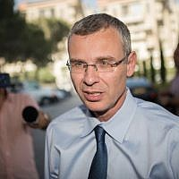 Tourism Minister Yariv Levin arrives at a Likud party meeting on May 28, 2019, in Jerusalem (Yonatan Sindel/Flash90)