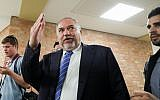 Yisrael Beytenu party leader Avigdor Liberman leaves after a faction meeting at the Knesset, on May 29, 2019. (Noam Revkin Fenton/Flash90)
