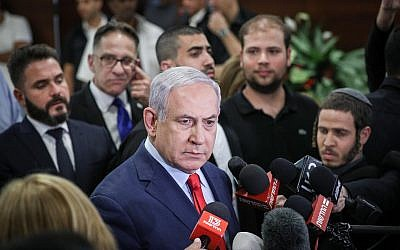 Prime Minister Benjamin Netanyahu speaks to the media at the Knesset, in Jerusalem on May 29, 2019 (Yonatan Sindel/Flash90)
