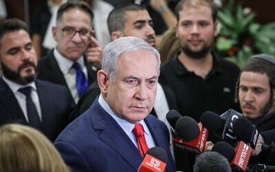 Prime Minister Benjamin Netanyahu speaks to the media at the Knesset in Jerusalem on May 29, 2019. Netanyahu forced the dissolution of the Knesset that night, after it became clear that he was unable to win the support of Avigdor Liberman and thus could not form a majority coalition. (Yonatan Sindel/Flash90)