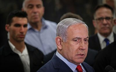 Prime Minister Benjamin Netanyahu speaks to the media at the Knesset in Jerusalem on May 29, 2019, after dispersing parliament and calling new elections. (Yonatan Sindel/Flash90)