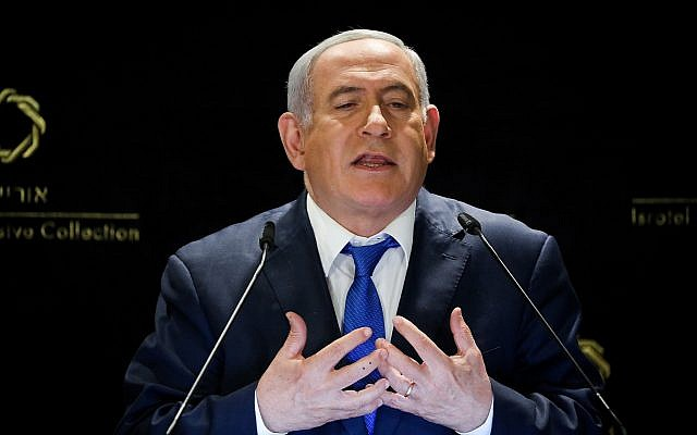 Prime Minister Benjamin Netanyahu delivers a statement to the media at the Orient Hotel in Jerusalem, on May 30, 2019. (Noam Revkin Fenton/Flash90)