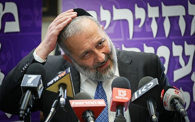 Shas leader Aryeh Deri during a party faction meeting in the Knesset on May 30, 2019. (Yonatan Sindel/Flash90)