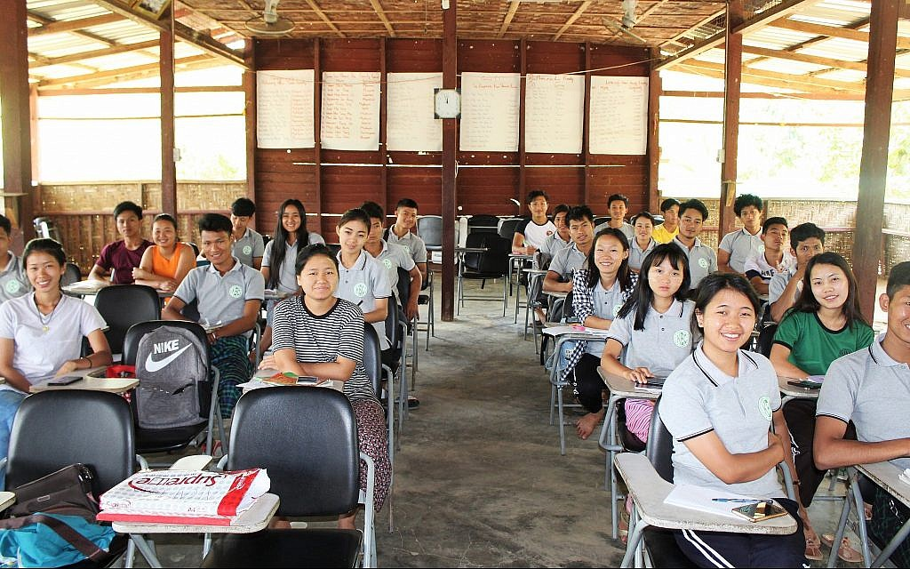 First-year students at the Ake Eco Farm and Sustainable Development Learning Center near Myitkyina, Myanmar. (Emily Fishbein/Times of Israel)